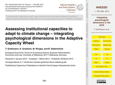Assessing Institutional Capacities to Ad... by Grothmann, T.