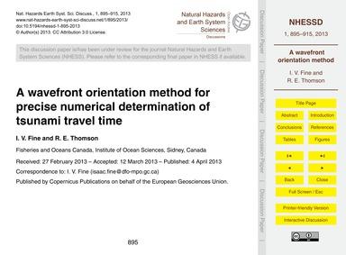 A Wavefront Orientation Method for Preci... by Fine, I. V.
