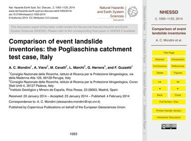 Comparison of Event Landslide Inventorie... by Mondini, A. C.