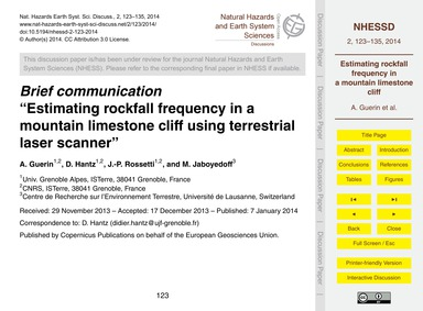 Brief Communicationestimating Rockfall F... by Guerin, A.