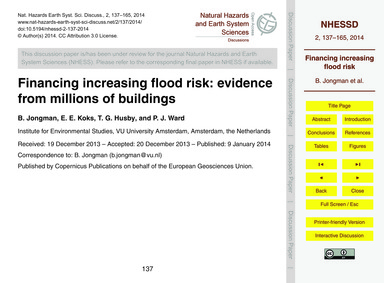 Financing Increasing Flood Risk: Evidenc... by Jongman, B.