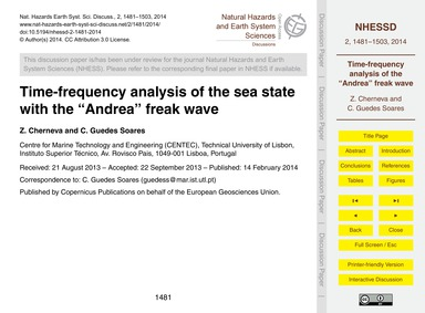 Time-frequency Analysis of the Sea State... by Cherneva, Z.