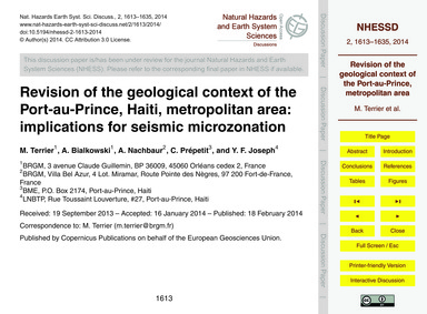 Revision of the Geological Context of th... by Terrier, M.