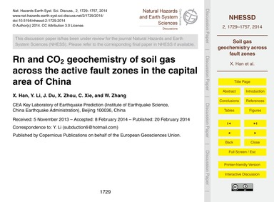 Rn and Co2 Geochemistry of Soil Gas Acro... by Han, X.