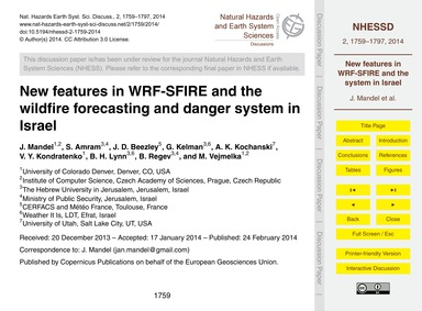New Features in Wrf-sfire and the Wildfi... by Mandel, J.