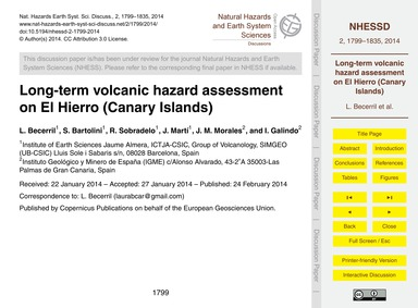 Long-term Volcanic Hazard Assessment on ... by Becerril, L.