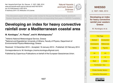 Developing an Index for Heavy Convective... by Korologou, M.