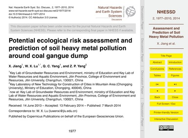 Potential Ecological Risk Assessment and... by Jiang, X.