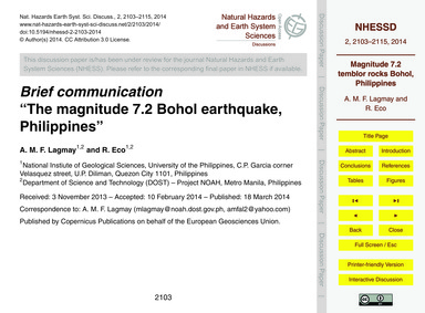 Brief Communication the Magnitude 7.2 Bo... by Lagmay, A. M. F.