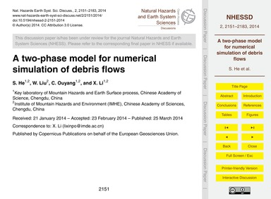 A Two-phase Model for Numerical Simulati... by He, S.