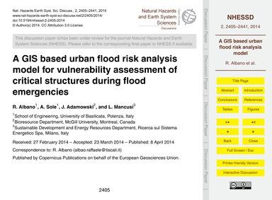 A Gis Based Urban Flood Risk Analysis Mo... by Albano, R.
