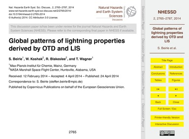 Global Patterns of Lightning Properties ... by Beirle, S.