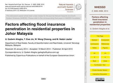 Factors Affecting Flood Insurance Penetr... by Godwin Aliagha, U.