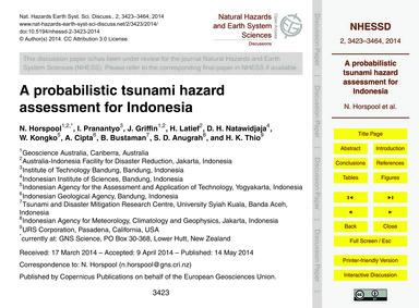 A~probabilistic Tsunami Hazard Assessmen... by Horspool, N.