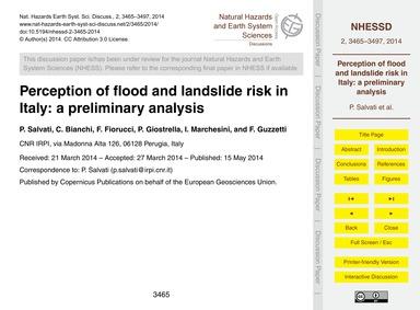 Perception of Flood and Landslide Risk i... by Salvati, P.