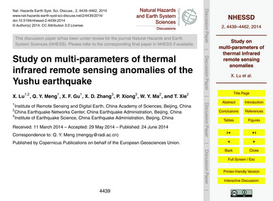 Study on Multi-parameters of Thermal Inf... by Lu, X.