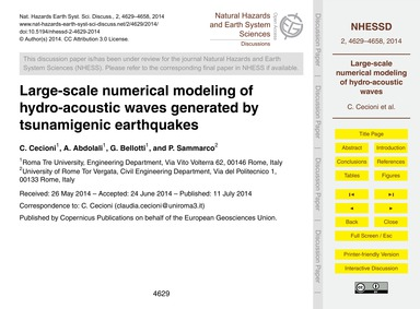Large-scale Numerical Modeling of Hydro-... by Cecioni, C.