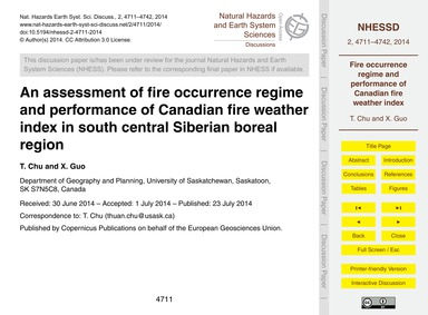 An Assessment of Fire Occurrence Regime ... by Chu, T.