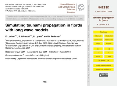 Simulating Tsunami Propagation in Fjords... by Løvholt, F.