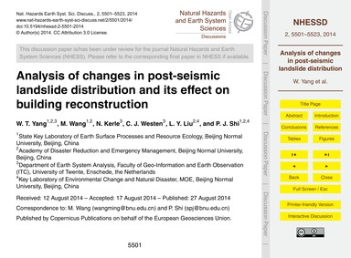 Analysis of Changes in Post-seismic Land... by Yang, W. T.