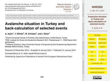Avalanche Situation in Turkey and Back-c... by Aydın, A.