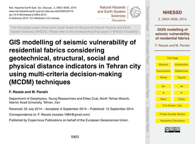 Gis Modelling of Seismic Vulnerability o... by Rezaie, F.