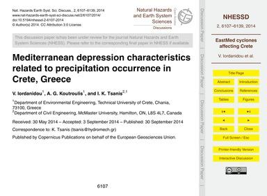 Mediterranean Depression Characteristics... by Iordanidou, V.