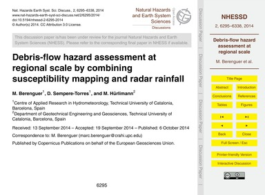 Debris-flow Hazard Assessment at Regiona... by Berenguer, M.