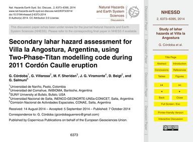 Secondary Lahar Hazard Assessment for Vi... by Córdoba, G.