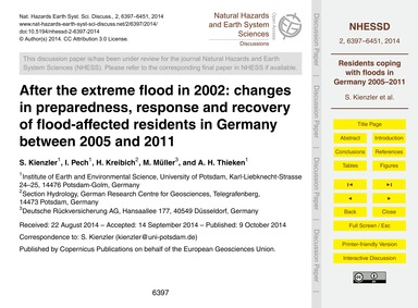 After the Extreme Flood in 2002: Changes... by Kienzler, S.