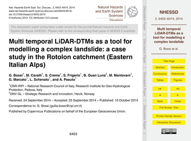 Multi Temporal Lidar-dtms as a Tool for ... by Bossi, G.