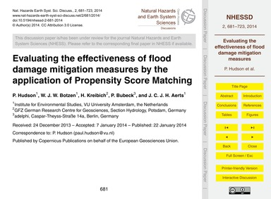 Evaluating the Effectiveness of Flood Da... by Hudson, P.