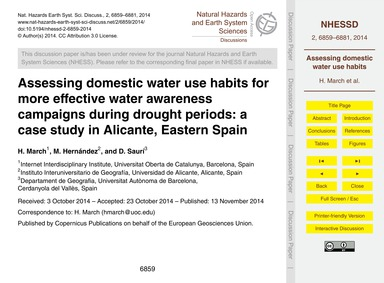 Assessing Domestic Water Use Habits for ... by March, H.