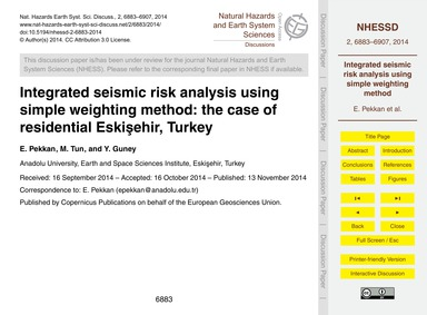 Integrated Seismic Risk Analysis Using S... by Pekkan, E.