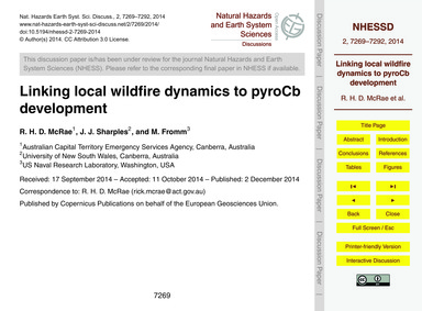 Linking Local Wildfire Dynamics to Pyroc... by McRae, R. H. D.