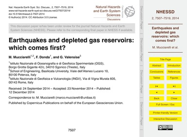 Earthquakes and Depleted Gas Reservoirs:... by Mucciarelli, M.