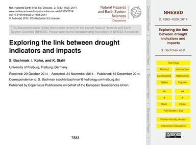 Exploring the Link Between Drought Indic... by Bachmair, S.