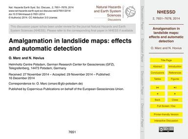 Amalgamation in Landslide Maps: Effects ... by Marc, O.