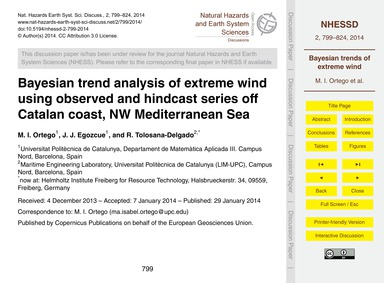 Bayesian Trend Analysis of Extreme Wind ... by Ortego, M. I.
