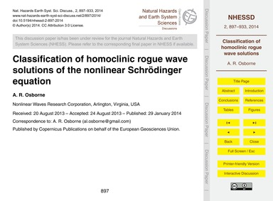 Classification of Homoclinic Rogue Wave ... by Osborne, A. R.