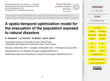A Spatio-temporel Optimization Model for... by Alaeddine, H.