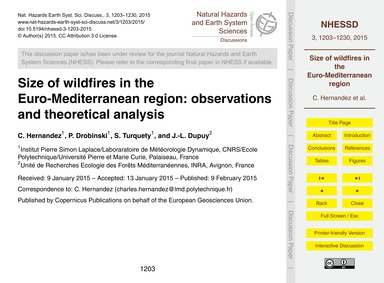 Size of Wildfires in the Euro-mediterran... by Hernandez, C.
