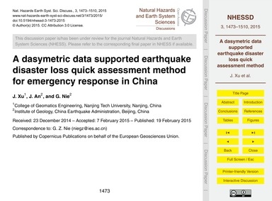 A Dasymetric Data Supported Earthquake D... by Xu, J.