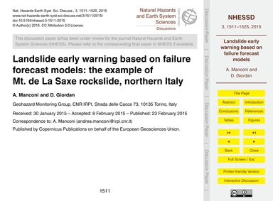 Landslide Early Warning Based on Failure... by Manconi, A.