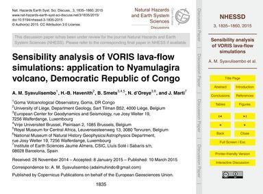 Sensibility Analysis of Voris Lava-flow ... by Syavulisembo, A. M.