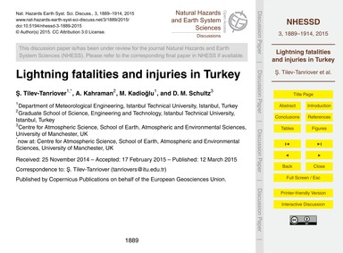 Lightning Fatalities and Injuries in Tur... by Tilev-tanriover, Ş.