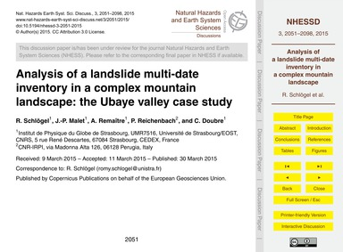 Analysis of a Landslide Multi-date Inven... by Schlögel, R.