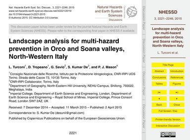 Landscape Analysis for Multi-hazard Prev... by Turconi, L.