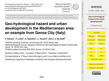Geo-hydrological Hazard and Urban Develo... by Faccini, F.