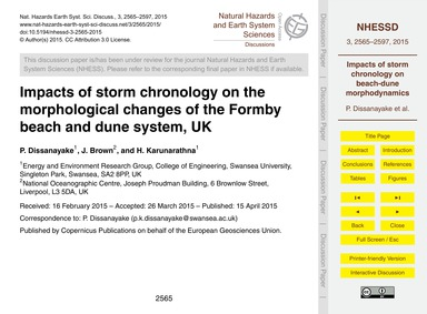 Impacts of Storm Chronology on the Morph... by Dissanayake, P.